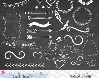 INSTANT DOWNLOAD - Chalkboard Doodle Clipart and Vectors for personal and commercial use
