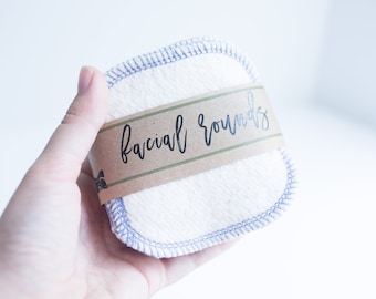 """Hemp and Organic Cotton Rounds  Organic Cotton Thread Make-up Remover  Facial Rounds - 4"""" Face Wipes  Choose your quantity  TWILIGHT THREAD"""