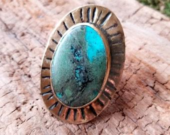 Turquoise Sunburst Brass Ring