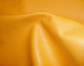 "Leather 12""x12"" DIVINE Light Mustard Yellow Top Grain Cowhide - 2.5 oz /1mm - full hides available PeggySueAlso™ E2885-10"