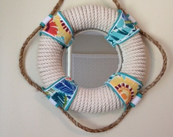 "Nautical Life Preserver Rope Mirror, 13"", Colorful & Tropical, South Seas Plantation"