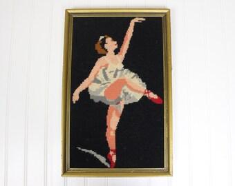 Vintage Framed Needlepoint Ballet Dancer