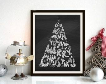 Wish You A Merry Christmas - Chalkboard Print, Christmas Print, Christmas Art, Merry Christmas, Christmas Download, Chalkboard Christmas