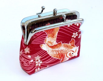 2 Compartment Coin Purse in Red Cotton with Koi Fish. 2 pocket coin purse.