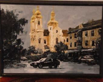 Original oil painting of church