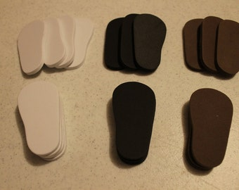 5mm Doll shoe soles to make shoes for 18 inch dolls such as American Girl white, black and brown 10 pack