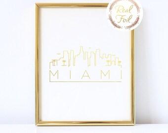 Miami Skyline Gold Foiled Print Home Decor Minimalist Art Gallery Wall Art Gold Decoration Miami Art Print Gift Housewarming Gift