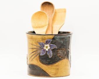 Columbine Crock | Kitchen Crock | Utensil Holder | Spoon Jar | Ceramic Crock | Stoneware Crock | Handmade Pottery | Colorado Decor