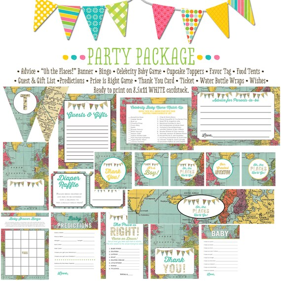 Adventure Awaits travel theme baby shower world map oh the places you'll go party package gender reveal party game | 1294 Katiedid Designs