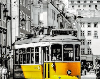Lisbon Yellow Tram - Lisbon Trams - Black and White - Yellow - Neutral Decor - Stylish - Fine Art Photography  - Yellow Trams- 0106