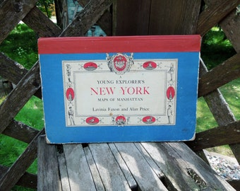 A Young Explorers's New York Maps o Manhattan Book - Vintage 1962 Edition Illustrated Maps of Central Park, The Village, Special Events