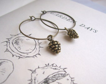 Golden Pine Cones hoop earrings - brass charms - tiny pinecone woodland jewellery - nickel free earrings