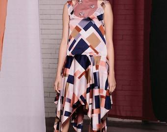 Maarimaia Racer Neck Handkerchief Midi Pink| Flowy Dress | Summer Dress | Handkerchief Hem | Embellished dress | Drop Waist | stylish dress