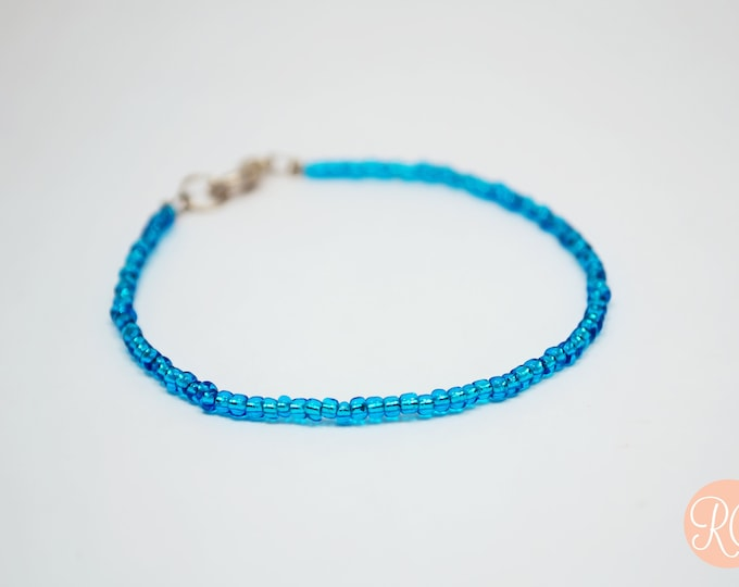 Customizable thin seed bead bracelet any colour