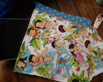 Tablet/Kindle; Hawaiian Hula Kids Velcro Clutch and Make-up Bag Set of 2