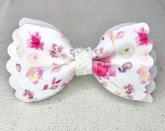 Beautiful Floral and White Bow||White Chuncky Glitter||Nylon Headband Or Clip||Baby||Toddler||Young Girl||Adult Hair Accessories
