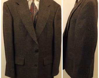 80s Oscar de la Renta Black Wool Nailshead Sport Coat Size 40R