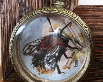 Magazine Collage Bee Pocket Watch Miniature or Pendant