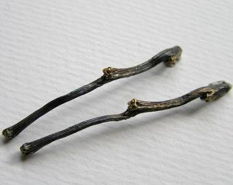 budding twig sterling silver stud earrings. nature jewelry. botanical jewelry. handmade earrings