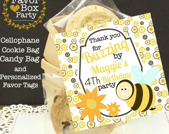 Bee Party Favors, 12 Cellophane Bumble Bee Favor Bags & Personalized Tags, Bee Birthday Favors, Cookie Favors, Candy Bags Goodie Bags