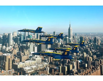 Blue Angels Over New York City - Airplane Poster - Plane Print - Military Jet Photo