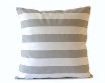 Decorative Throw Pillow Cover Gray and White Wide Striped Medium Weight Cotton- Invisible Zipper Closure- SET OF TWO Cushion Covers
