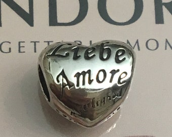 Authentic Pandora Language of Love Charm Retired Pandora Heart Charm