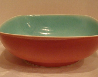Vintage Dryden Pottery Ovenware Pink Teal Rectangular Baking Serving Glazed Pottery Bowl Dish Casserole