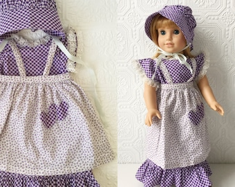 "Boho Doll Fashion, Little House Purple Calico Prairie Style Dress with Apron and Bonnet, Fits American Girl or other 18"" Dolls, Vintage 80s"