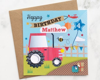 Kids Red Tractor Card, Birthday Card, Childs Tractor Card, Tractor Birthday Card for Kids, Tractor Birthday Card, Children's Tractor Card