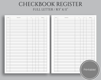"Check Register Printable Planner Inserts, Budgeting and Finance Tracker, Checkbook Register ~ Letter 8.5"" x 11"" PDF Download"