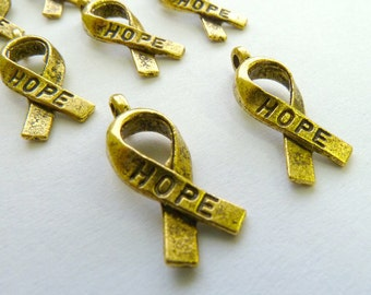 Gold Ribbon of Hope Awareness Charms