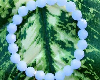White Beaded Gem Bracelet