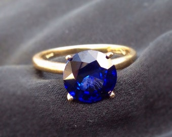 8mm Blue Sapphire and 14k Gold Solitare Ring, Engagement Ring, September Birthstone, Wedding Ring