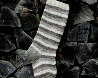"""READY TO SHIP! Christmas Stockings ~22"""" Personalized Hand knit from Wool Gray Dark gray and White stripes"""