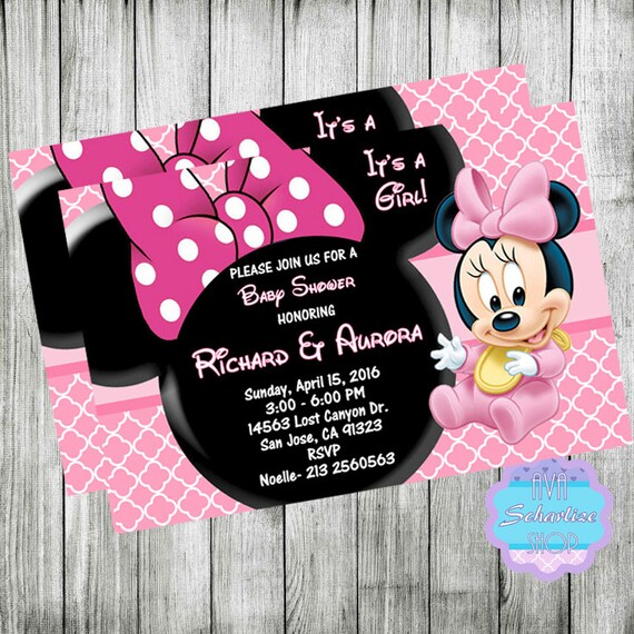 Baby MINNIE MOUSE Baby Shower Invitation Minnie Mouse