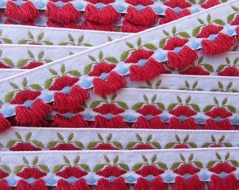 3 Yards Fancy Red Flowers Fabric Ribbon Woven Trim