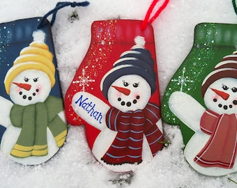 Snowman Ornament, Hand Painted First Christmas Ornament, Personalized Ornament