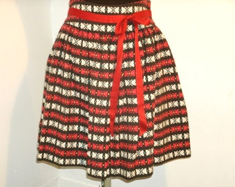 Woven Ethnic Tapestry Cotton Fabric Skirt Black White Blue Yellow Butterflies Sash Tie Belt Full Women's Tocca Size 4 Eastern Europe