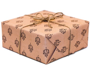 Custom Wrapping Paper Kraft Color With Black Laurel Pattern   Custom Gift Wrap In Two Sizes Great For Any Occasion. Made In The USA