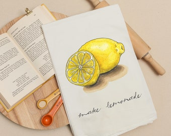 Lemon - Food Pun Flour Sack Towel - Hand Lettered - Watercolor - Kitchen Towel - Gift - Cotton Tea Towel - Fruits & Veggies - Produce