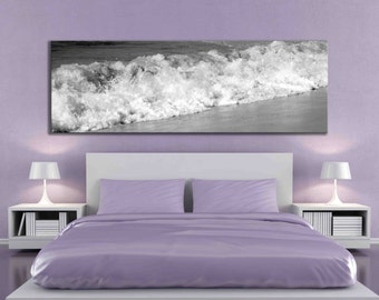 Big panoramic black and white water beach ocean artwork sand over the bed canvas print living room modern photograph caught it on canvas art