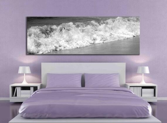 Big panoramic black and white water beach ocean artwork sand