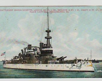 Linen Postcard, U.S. Battleship Massachusetts, Military Ship, 1907