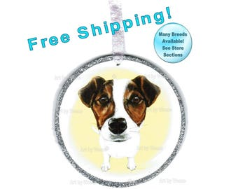 Jack Russell Terrier, Jack Russell Ornament, Jack Russell Art, Jack Russell Dog, Christmas Ornament, Tree Ornament, Free Shipping