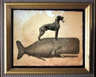 Brindle Great Dane Riding Whale - Vintage Collage Art Print on Tea Stained Paper -  dog art - dog gifts - mother's day gift