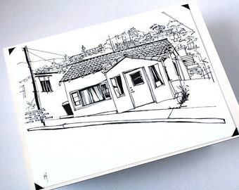 THE BUNGALOW | Los Angeles city house drawing in pen and ink on white cardstock, an original ink sketch by Kathryn DiLego