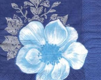 Flower Blue 1 paper size 33 X 33 lunch napkin 515