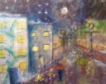 Impressionist Acrylic Painting - Original and Print -Snowing Cityscape- Wall Art