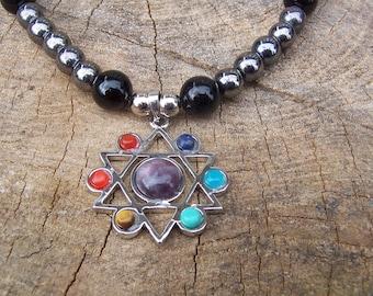 Hexagram Star of David Pendant Necklace with Semiprecious Stones